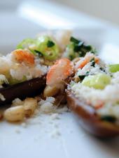 gevulde aubergine met krab